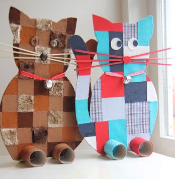colorful cat toys for kids made out of cardboard and toilet paper rolls. DIY or…