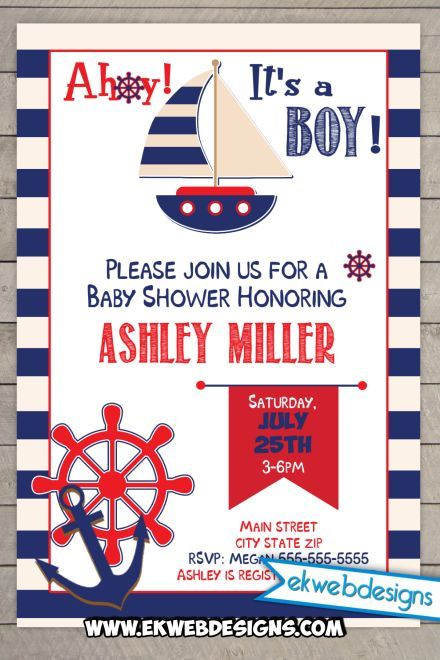 Sailor Baby Shower Invitation - Sail Boat Baby Shower Digital file invite That you print or have printed. Prefect red, white and blue its a boy baby shower invitation