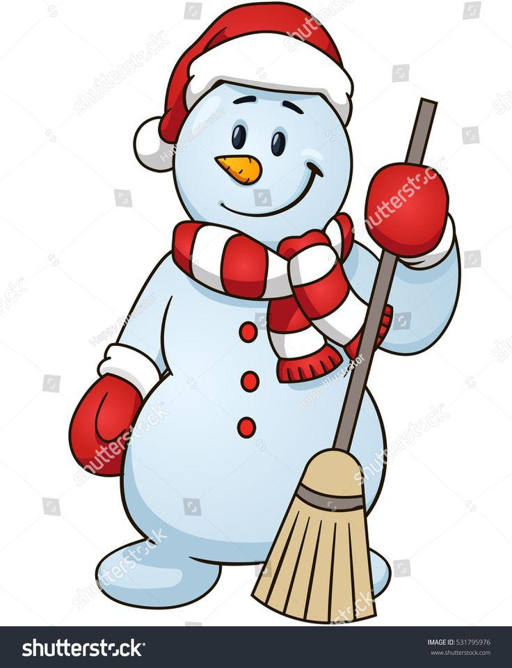 Cartoon snowman holding a broom vector clip art illustration simple gradients bonhomme de - Clipart bonhomme de neige ...