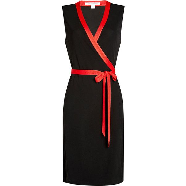 Diane von Furstenberg Sleeveless Colorblock Wrap Dress ($380) ❤ liked on Polyvore featuring dresses, black, color block dresses, alessandra sleeveless print-blocked dress, block print dresses, colour block dress and diane von furstenberg