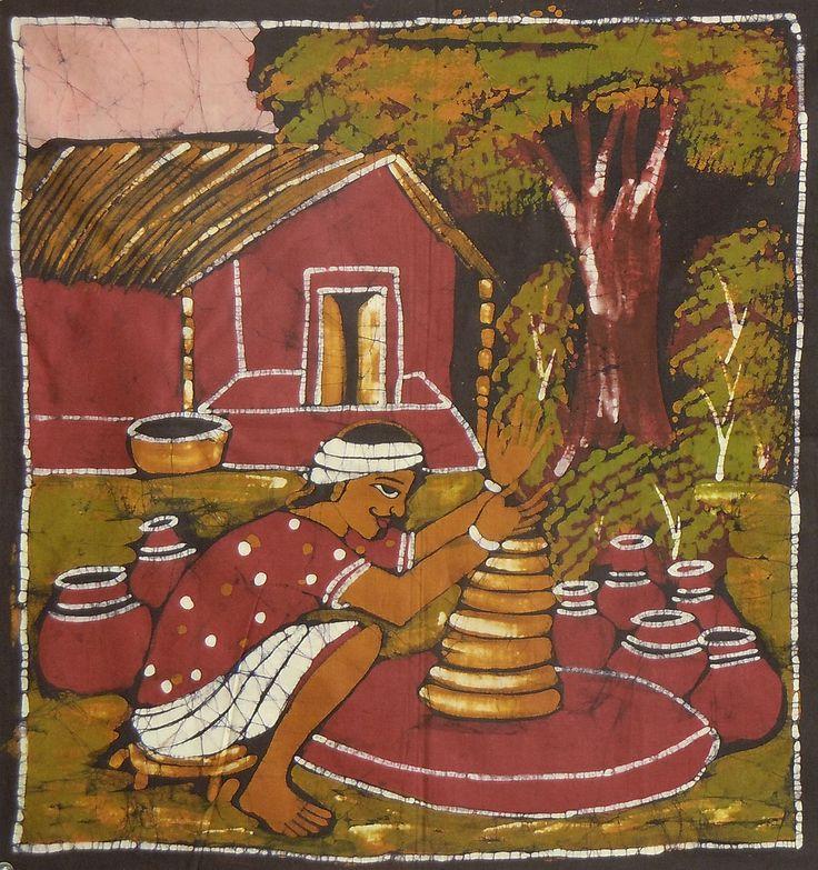 Indian Potter (Batik Painting on Cotton Cloth - Unframed)