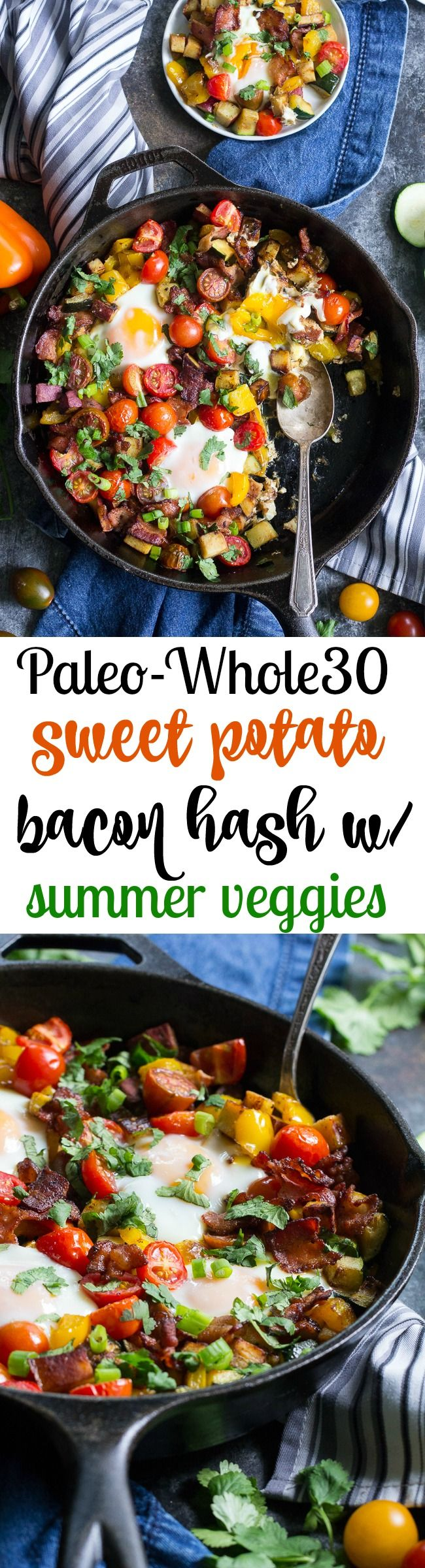Sweet Potato Hash with Bacon and Summer Veggies {Paleo & Whole30}   #justeatrealfood #paleorunningmomma