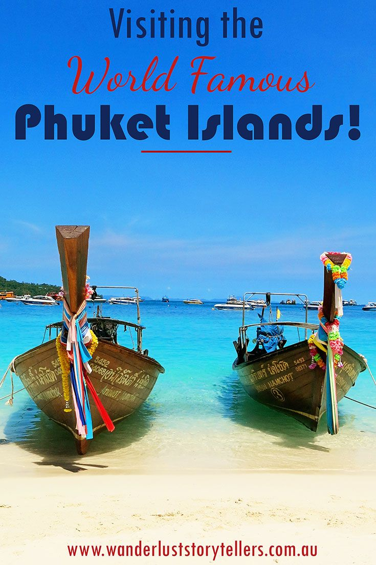 Visiting world famous Phuket Islands on a speedboat Phi Phi Island Tour | Maya Beach at Phi Phi Ley, Monkey Beach, Khai Nai Island, Viking Cave and more!  Read more of our Thailand stories on our blog wanderluststorytellers.com.au