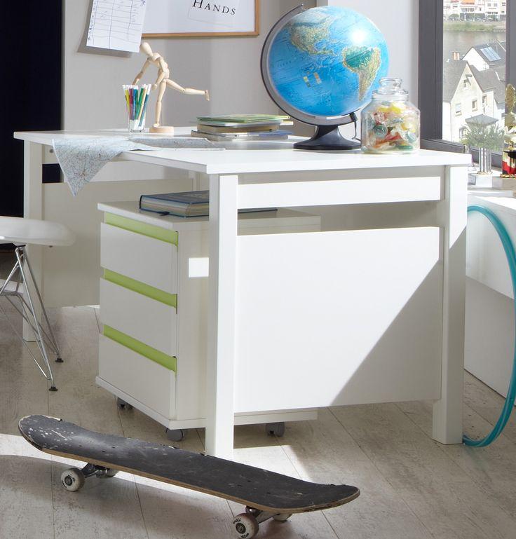 Fancy Schreibtisch Mit Rollcontainer Alpinweiss Apfelgr n Woody Holz modern Jetzt bestellen unter