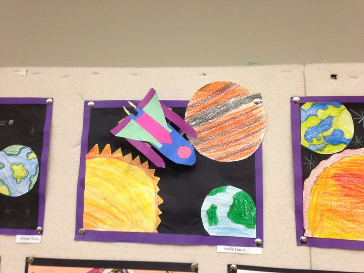 Outer space collage art projects by my students for Outer space guitar