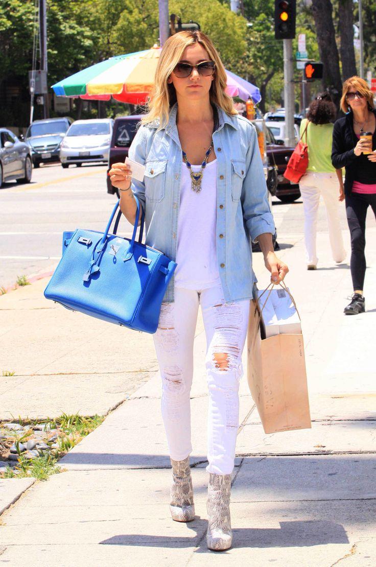 Ashley Tisdale, fav celebrity, I love her style!: Fashion My Style, Blue Birkin, Hermes Birkin, Birkin Ashley, Outfit, Spring Fashion, Ashleytisdale, Ashley Tisdale