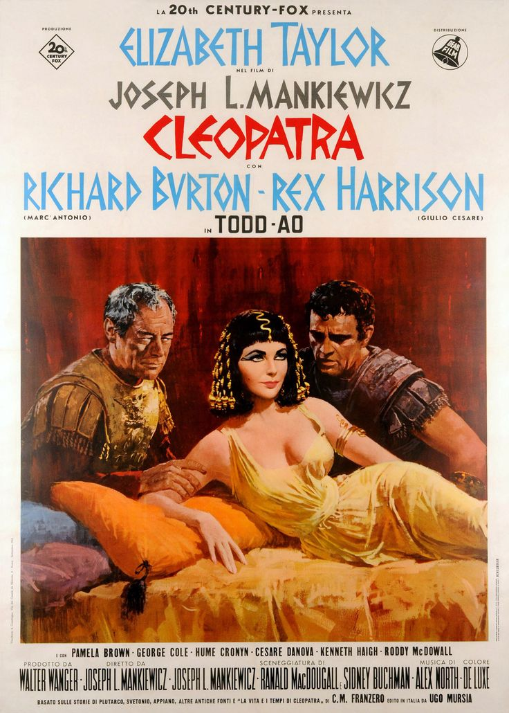 "Movie poster, ""Cleopatra"" (1963) starring Elizabeth Taylor and Richard Burton"