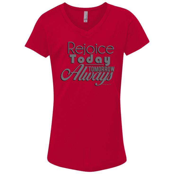 Rejoice Always Girls' Princess V-Neck T-Shirt