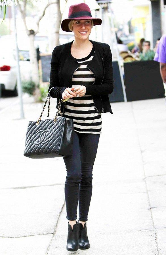 Kristin Cavallari in a casual maroon fedora, striped tee and skinny jeans