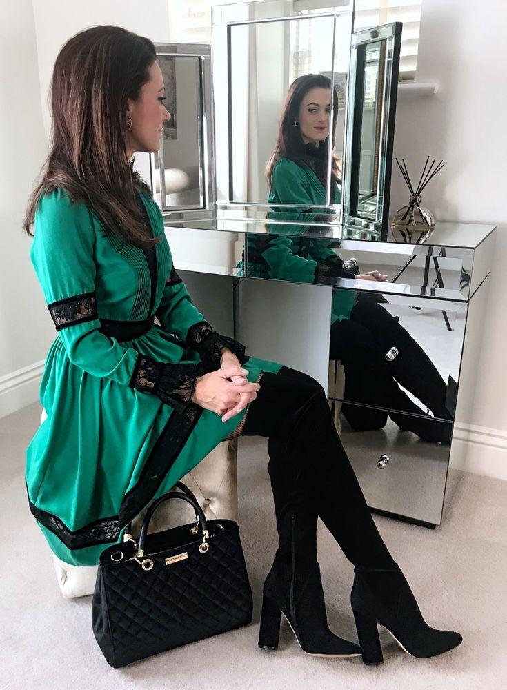 Myleene Klass Lace Panel Dress | Aldo Tenesha Velvet Over The Knee | Carvela Darla Quilted Velvet Tote Bag | Swarovski Hoop Fever Pe Hex