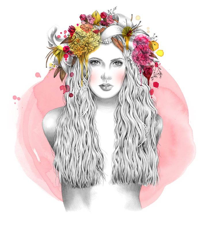Girl with flower crown drawing - photo#26
