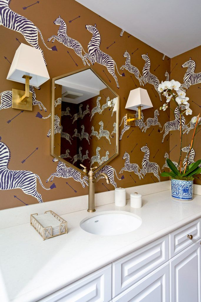A Happy Home for a Young Family | Interior Design by Jenn Feldman | Photography by Amy Bartlam | Modern Sanctuary | Bathroom Inspiration | Transitional Bathroom | Wallpaper Inspiration | Bold Wallpaper | Brown Wallpaper | Bath Fixtures | Lighting Inspirat