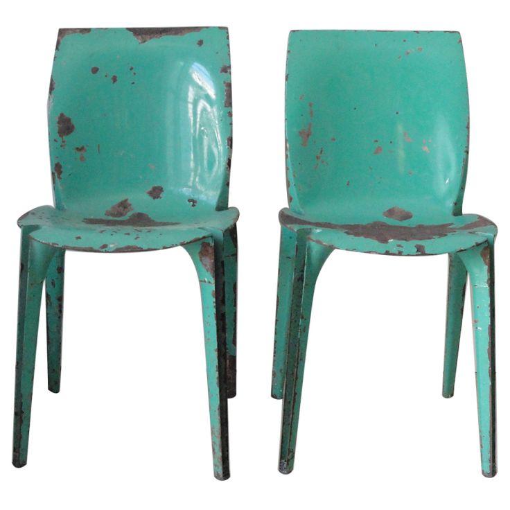 Marco Zanuso; Enameled Metal 'Lambda' Chairs for Gavina, 1964.