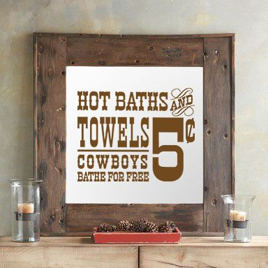 """""""Hot Baths and Towels"""" Adorable design for rustic bathrooms. Embellished old time country wall decal bathroom art ideas for cheap. See more at www.lacybella.com"""