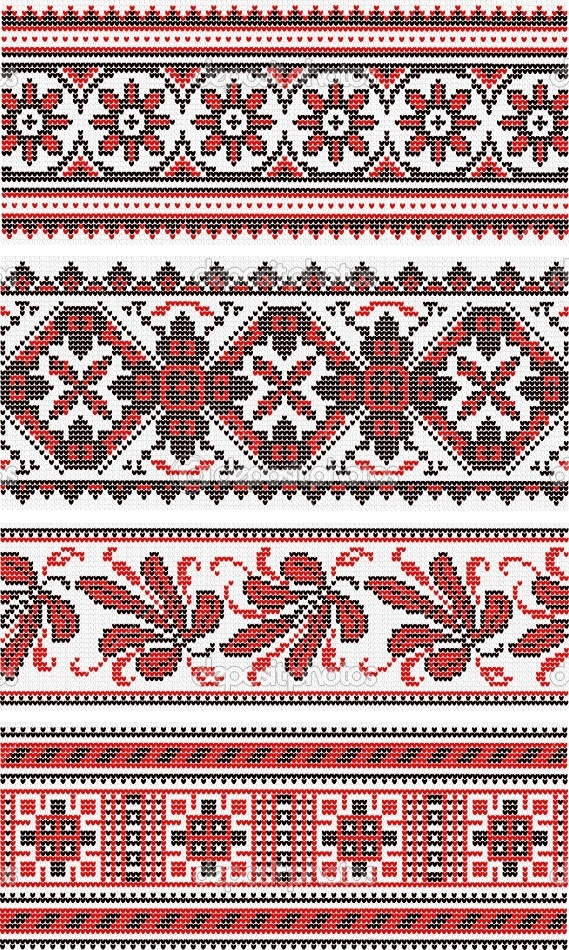 Collection of vegetative ornaments in the Ukrainian style | Stock Vector © Марианна #8152661