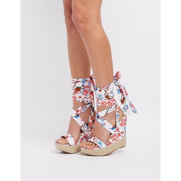 Chase + Chloe Floral Lace-Up Wedge Sandals ($27) ❤ liked on Polyvore featuring shoes, sandals, multi, strappy wedge sandals, espadrille wedge sandals, platform wedge sandals, lace up sandals and strappy sandals