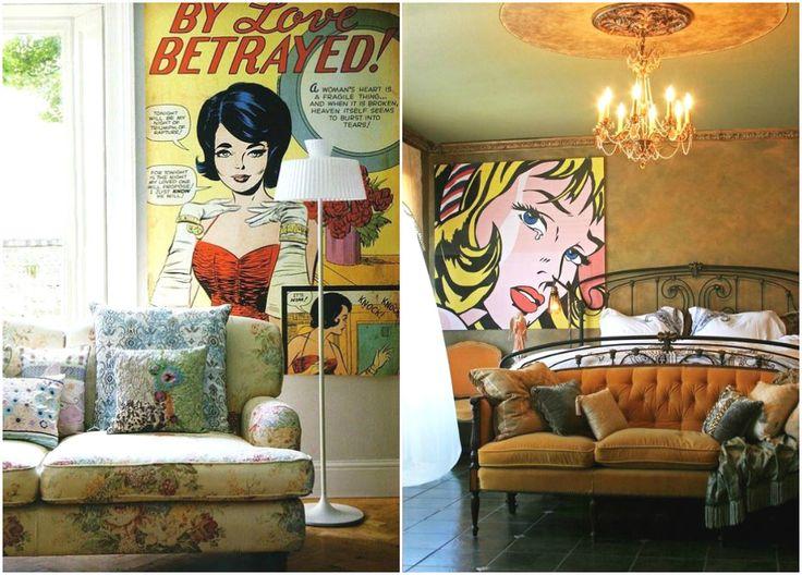 Постеры в стиле поп-арт в винтажных интерьерах #interior #мебель #дизайн #интерьер #дом #уют #декор