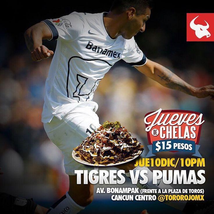 Para los fanáticos del futbol mexicano hoy jueves veremos En VIVO el juego entre Tigres VS Pumas a partir de las 9pm.  Los jueves son de chelas a $15 pesos en Toro Rojo :) #TigresVSPumas #Soccer #Futbol #Mexicano #SeleccionNacional