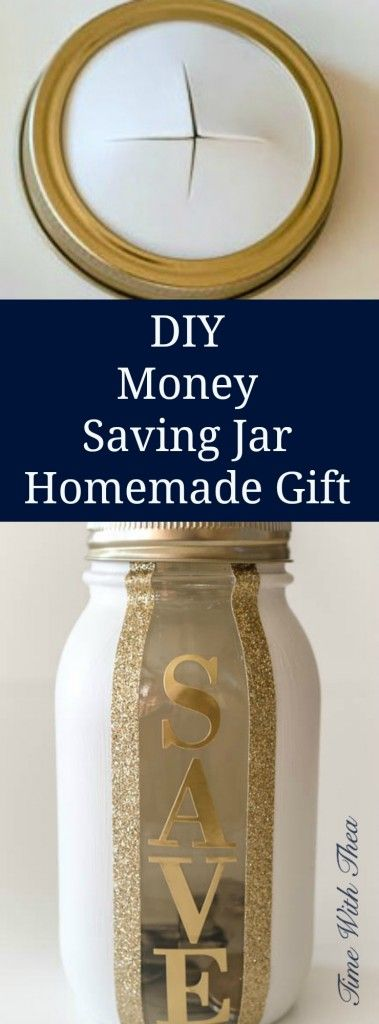 DIY Money Saving Jar Homemade Gift ~ Easily make a painted and decorated money saving mason jar. It makes a great any occasion gift for young and old! / timewiththea.com