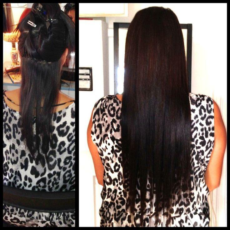 Før og efter billede. Pre and post hair extension. - HaarStraa