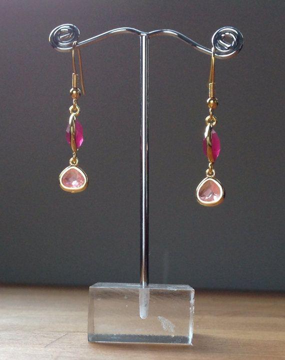 Gold plated ruby and rose glass bezel earrings by PetalJewels