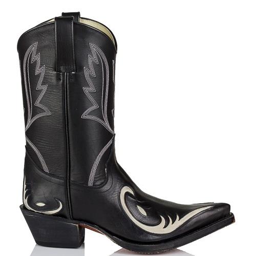 Het nieuwe model van Tony Mora is een echte dames cowboy laars van zwart leer met een fraai uitgesneden western patroon in bone (beige) kleurig leder op de voet. Authentieke cowboylaarzen met shuine hak en puntige neus.