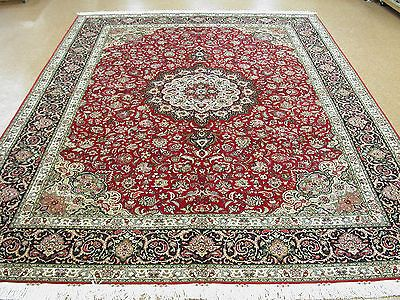 10 X 13 Persian Tabriz Hand Knotted Wool Silk Red Navy Fine Oriental Rug Carpet