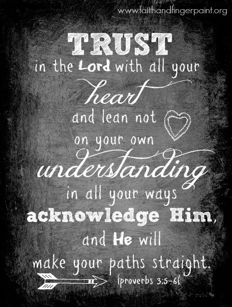 """Bible Verses for Kids, Chalkboard Printable: """"Trust in the Lord with all your heart, and lean not on your own understanding; in all your ways acknowledge Him, and he will make your paths straight."""" Proverbs 3:5-6"""