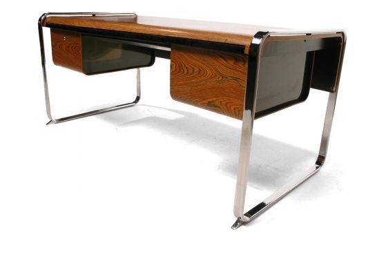 Peter Protzman for Herman Miller Zebrawood and Chrome Desk