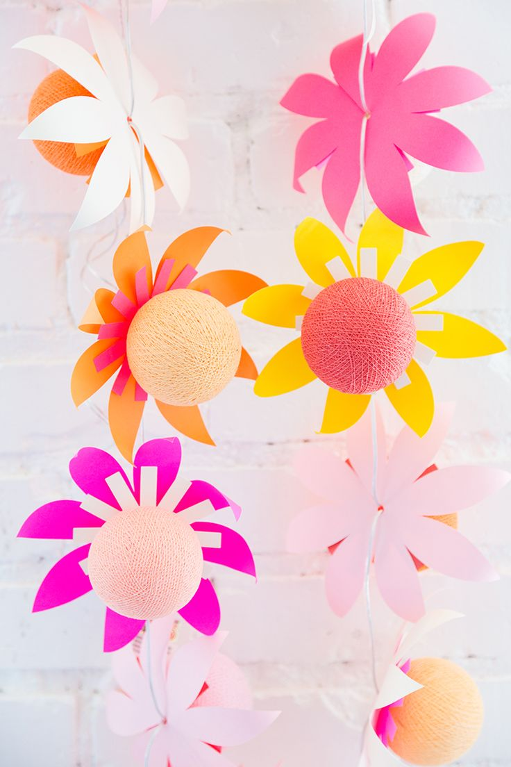 Diy flower string lights - Diy Flower Lights