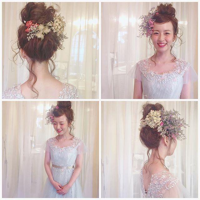 * * 二次会 hair * * 二次会hairも 喜んでいただけるよう 一生懸命やらせていただきます! * * #ウェディング #プレ花嫁 #マリhair