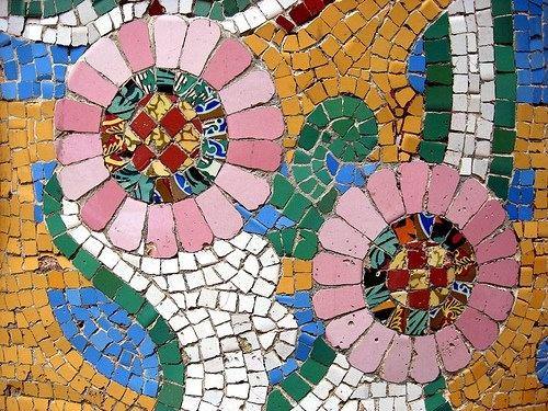 Detail of mosaic, Palau de Musica, Barcelona