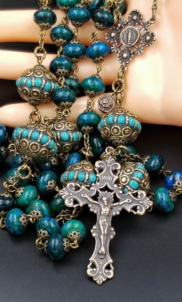 Azurite Chrysocola Turquoise    Stress,Anxiety,Spiritual Connection,   Concentration Solid Bronze Rosary