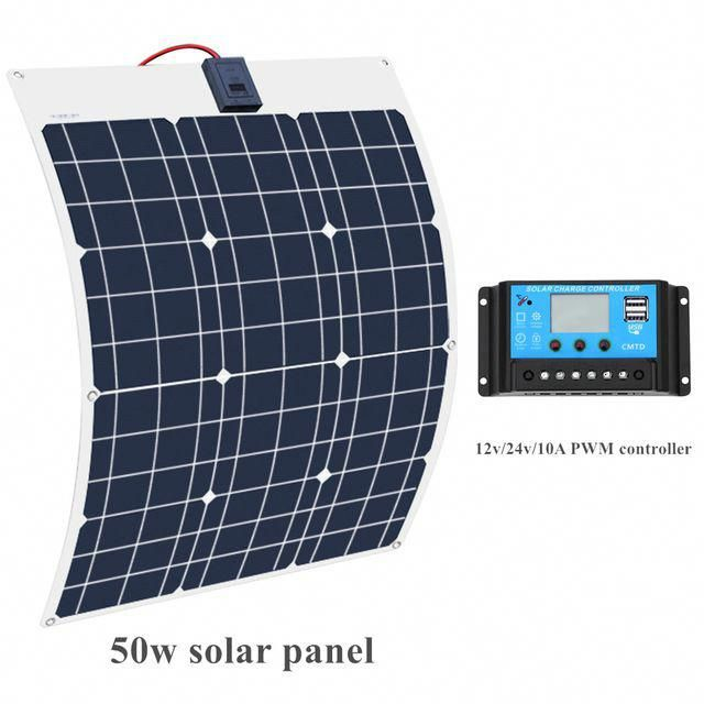 Boguang Brand Solar Battery Flexible Solar Panel 50w 12v 24v Controller 10a Solar System Kits For Fishing In 2020 Solar System Kit Flexible Solar Panels Solar Battery