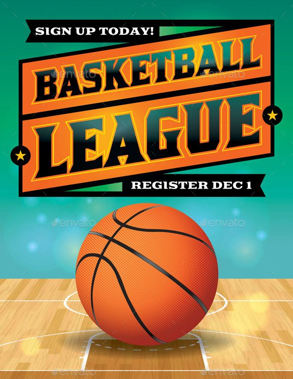 Vector Basketball League Flyer Illustration
