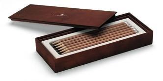 Estuche graf von faber castell de madera marron con 12 lapices selectos de escritorio n-iii largos - Estuches - Faber castell - Piera