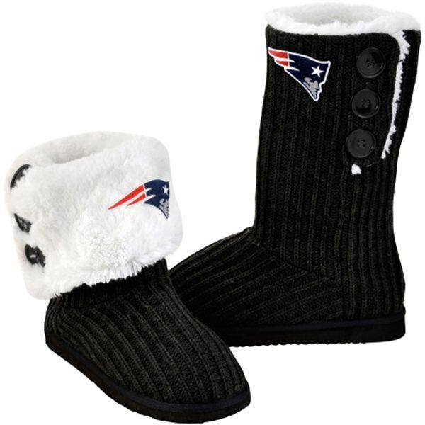 New England Patriots Ladies Knit High End Button Boot Slippers - Black - FansEdge.com