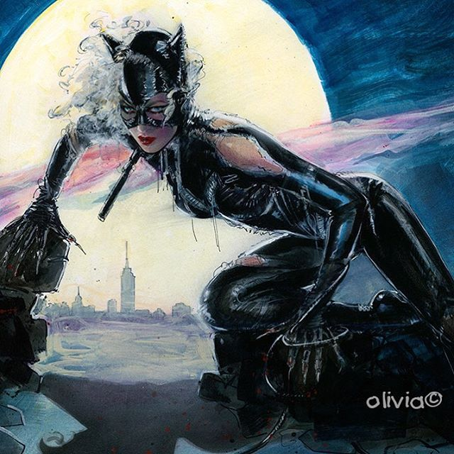 """""""Full Moon Meow"""", will be auctioned off this Sunday, sept 27.  http://auctions.oliviadeberardinis.com Featuring original #art of #MichellePfeiffer's #Catwoman, 13 original #paintings from #TimBurton's '92 #Batman movie."""