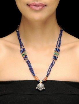 Урожай лазурит бисером Афгани Серебряное ожерелье