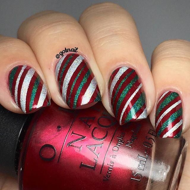 Red, Silver, and Green Candy Canes #nailchristmas
