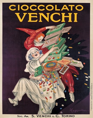 What a cute ad for Italian chocolate from a bygone era.