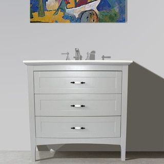 Grey Finish Solid White Quartz Marble Top 36 inch Single Sink Bathroom Vanity - 18655254 - Overstock - Great Deals on Infurniture Bathroom Vanities - Mobile