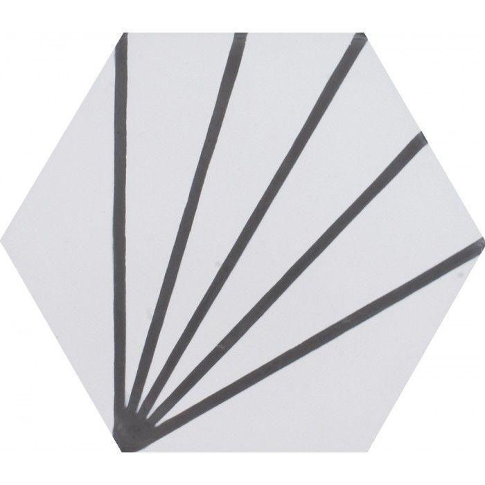 Carreau De Ciment Colore Hexagone Motif Art Deco Blanc Et Gris