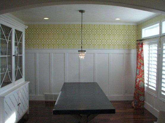 dining room batten board with wallpaper above: Dining Rooms, Batten Board, Room Batten, Living Room, Pair Board, Wallpaper Ideas, Board And Batten