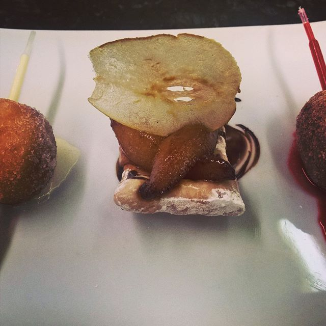 Trio of doughnuts! Raspberry and Bavarian beignets flambe of pear on a fritter. #foodgram #foodgasm #foodpic #instafood #cheflife #chef #daily #pastryporn #delicious #pastrychef #deliciousness #foodporn #gastronomy #yummy #theartofplating #instructor by hxcpstrychf
