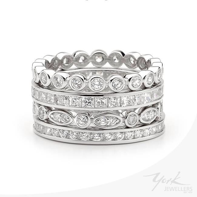 Stackable rings, wear them any way you want for instant sparkle.  #yorkjewellers #georgini www.yorkjewellers.com.au
