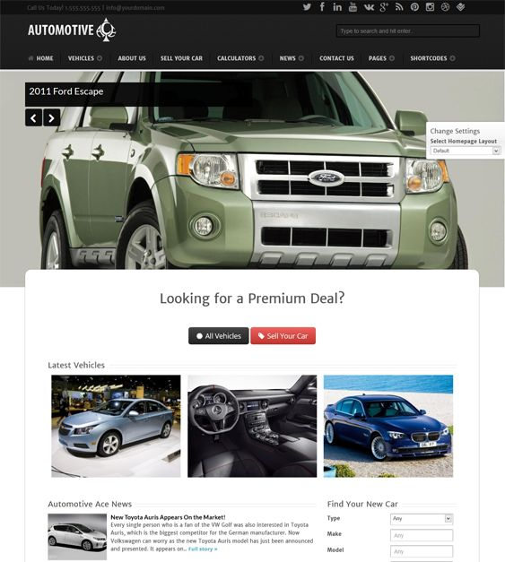 This car dealership WordPress theme has a responsive design, Revolution Slider, an optional sticky header and footer, lots of shortcodes and widgets, support for 40 languages, SEO optimization, and more.