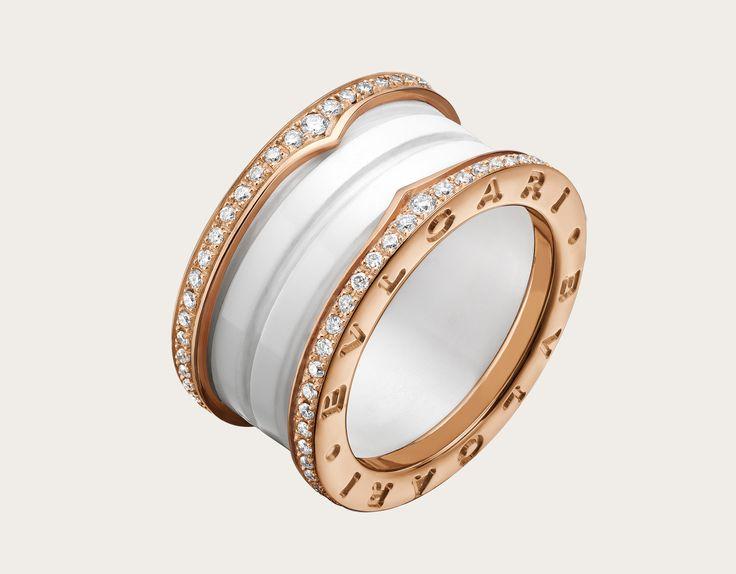 bzero1 18k rose gold and white ceramic ring with pave diamonds