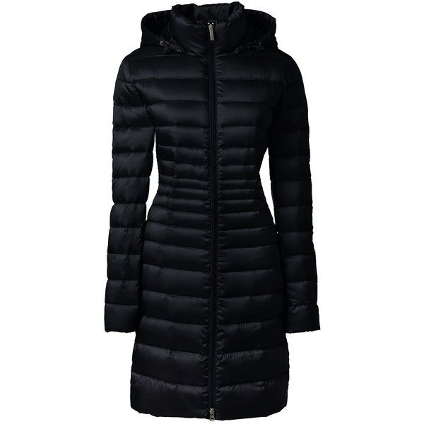 Lands' End Women's Plus Size Petite Lightweight Down Coat ($94) ❤ liked on Polyvore featuring outerwear, coats, black, evening coat, women's plus size coats, petite plus size coats, lands end coats and womens plus size down coats