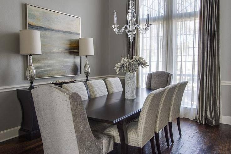 Perfect dining room in just about every way. grey dining room simple and elegant